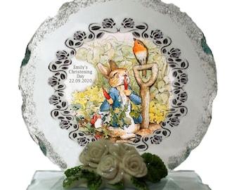 Christening Personalised gift  Peter Rabbit Cut Glass  Plaque keepsake