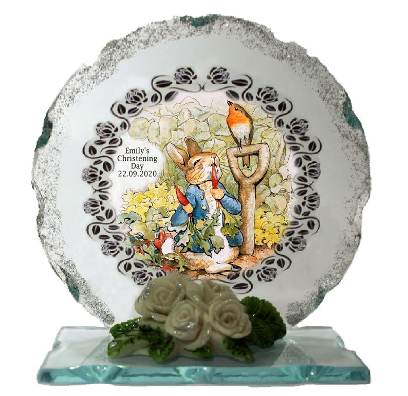 Christening Personalised gift  Peter Rabbit Cut Glass  Plaque image 0