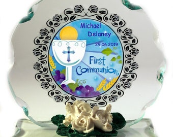 1st Holy Communion  personalised gift for Boy Cut Glass  Plaque keepsake