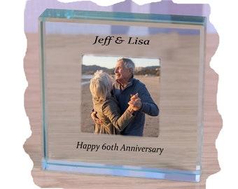 60th Diamond Wedding Anniversary Photo Glass Paperweight personalised gift