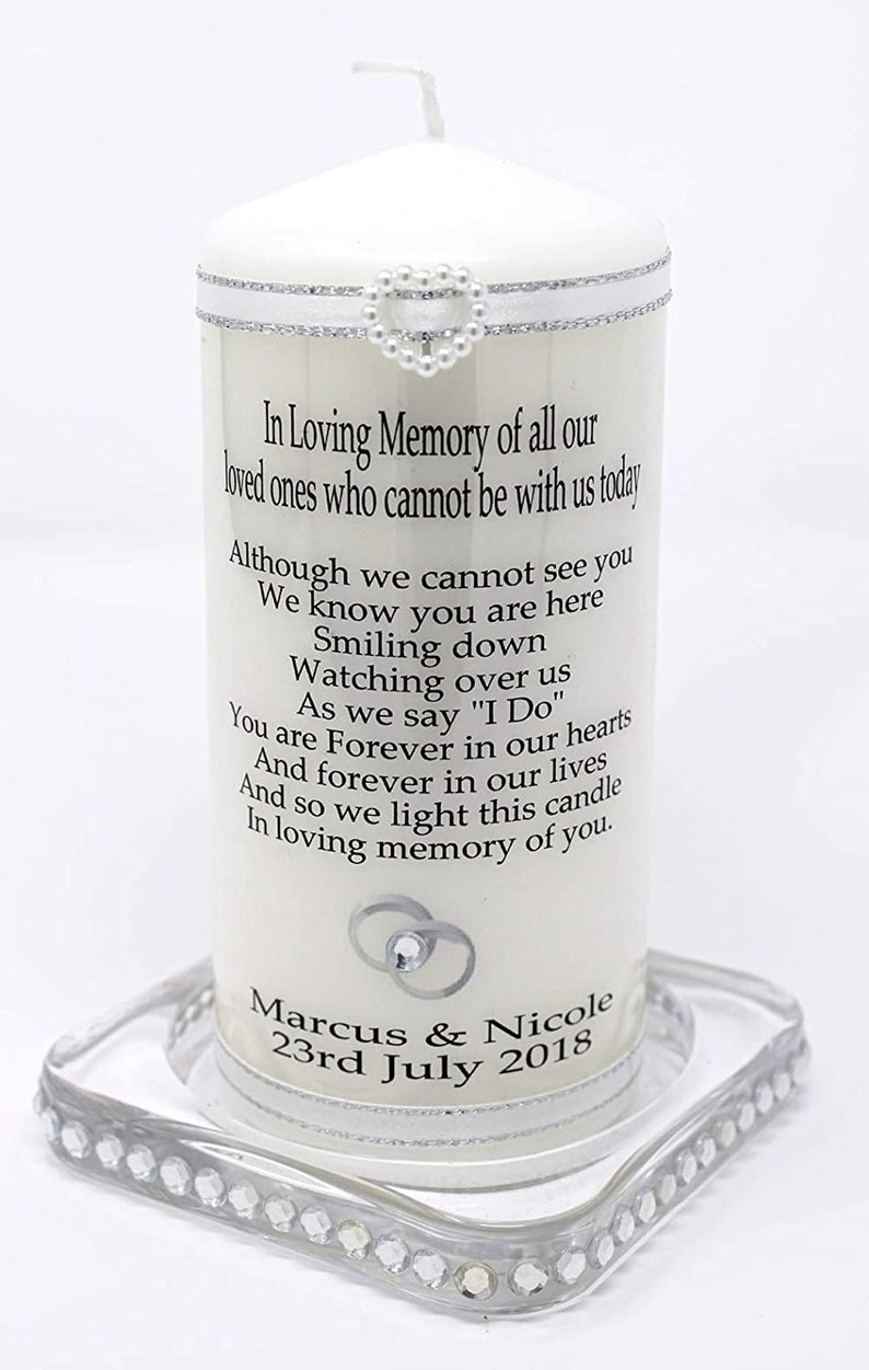 Personalised Wedding Absence Candle  Remembrance of loved ones image 0