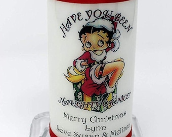 """Betty Boop Christmas Candle Card  personalised gift """" have you been naughty or nice"""" by Cellini Candles"""