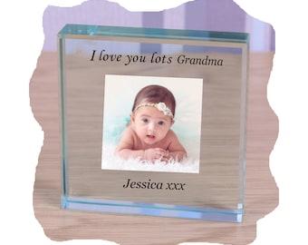 Gran Grandma Nanna Nan Personalised gift Glass Photo Paperweight keepsake for ANY Occasion