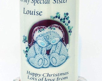 Sister Christmas Candle Card Teddy design personalised gift by Cellini Candles