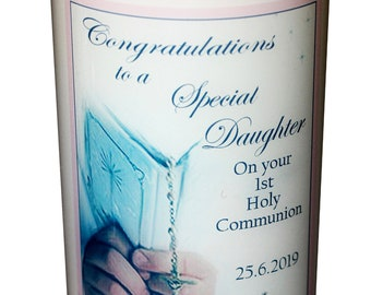 Daughter 1st Holy Communion Candle personalised gift
