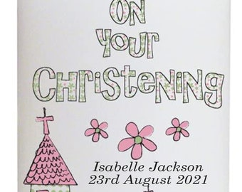 """Christening 6"""" Candle personalised gift Pink Church for baby Girl"""