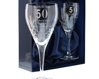 50th Golden Wedding Anniversary Engraved Crystal Wine Glasses Engraved personalised gift