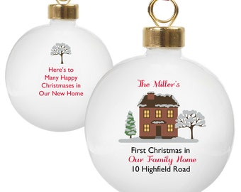 First Christmas in New Home Xmas tree bauble tree decoration personalised gift keepsake
