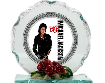 King of Pop,   Cut Glass Photo Plaque Edition, Collectable gift for Fan