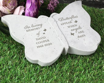 Butterfly Memorial keepsake or Grave Ornament personalised with Name & years