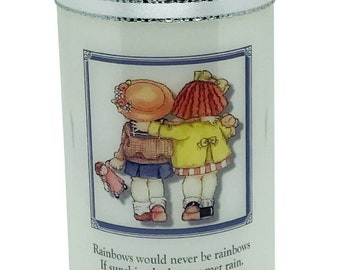 """Friend thinking of you Rainbow poem Candle  will be personalised Gift with any short message size 6""""."""
