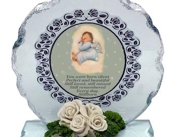 Baby Boy Still Birth Born Sleeping Memorial Cut Glass Plaque keepsake with beautiful Still Born  poem personalised if required