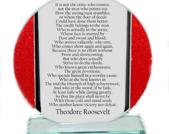 Graduation Cut Glass Plaque with the words of  Theodore Roosevelt