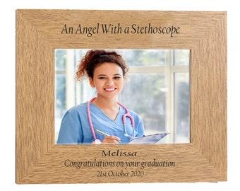 Nurse Graduation personalised Gift beautiful Engraved Landscape Oak finish 7 x 5  photo frame