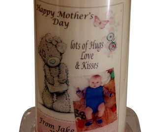 """Happy Mothers Day Photo Candle Card  personalised gift Large 6"""" Teddy design perfect for a special Mum. A card and a gift in one!"""
