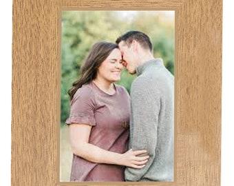 Engagement Personalised Gift beautiful  Oak Finish engraved photo frame portrait for 6 x 4 photo