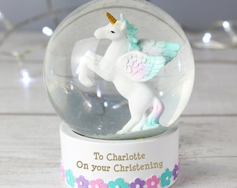 Personalised Christening, Baptism , Birthday, Snow Globe Unicorn Novelty Gift keepsake