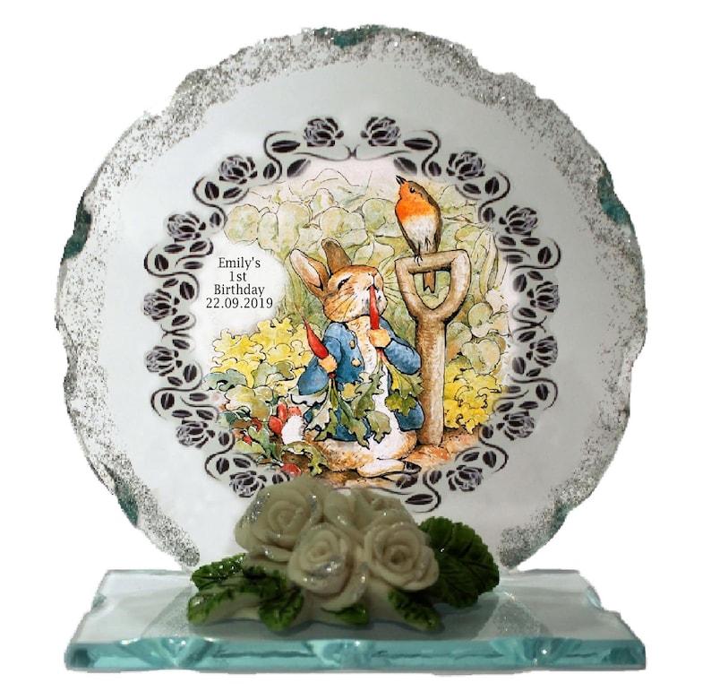 1st Birthday  Personalised gift  Peter Rabbit Cut Glass image 0
