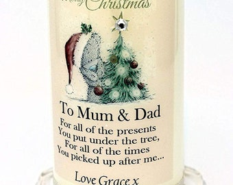 Mum & Dad Christmas Candle Card Teddy design personalised gift by Cellini Candles