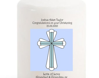 Christening Candle personalised gift blue cross for baby Boy