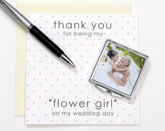 Flower Girl Wedding Thank you Personalised Gift Compact Mirror keepsake
