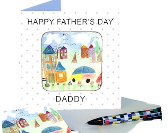 Father's Day  personalised gift coaster card with Childs own Art work for a special Daddy to treasure
