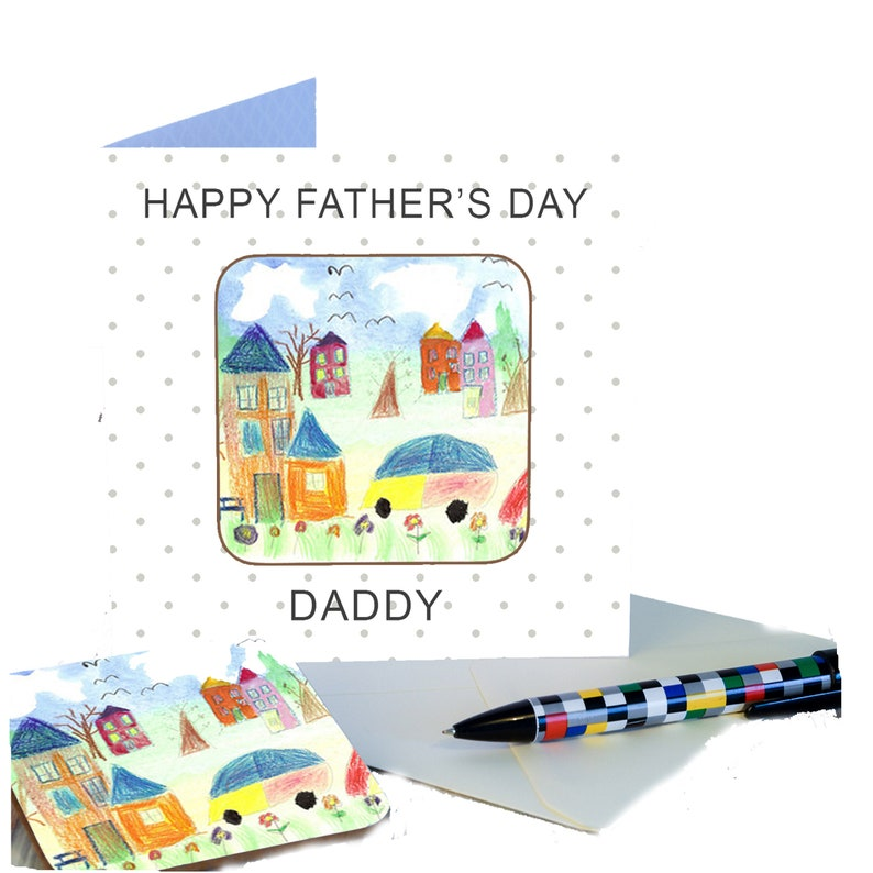Father's Day  personalised gift coaster card with Childs image 0