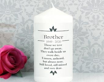 Brother Personalised Memorial  Candle funeral  Poem Verse Remembrance keepsake