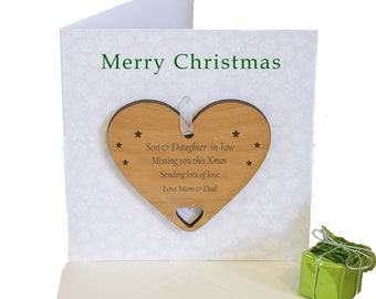 Son & Daughter-in-law  Personalised Christmas card with Heart Wood Keepsake Tree Decoration