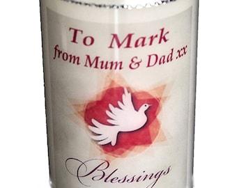 "Confirmation Candle personalised gift Dove design Large 6"" Christian keepsake"