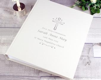 1st Holy Communion Photo Album personalised gift Cross design