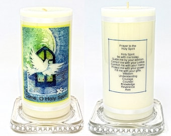 """Prayer to the Holy Spirit Candle personalised gift Communion, Confirmation or other occasions Large 6"""" Christian keepsake"""