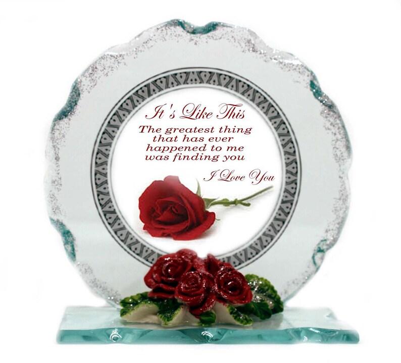 Valentine Red Rose poem  I love You Cut Glass  Plaque image 0