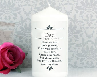 Dad Personalised Memorial  Candle funeral  Poem Verse Remembrance keepsake