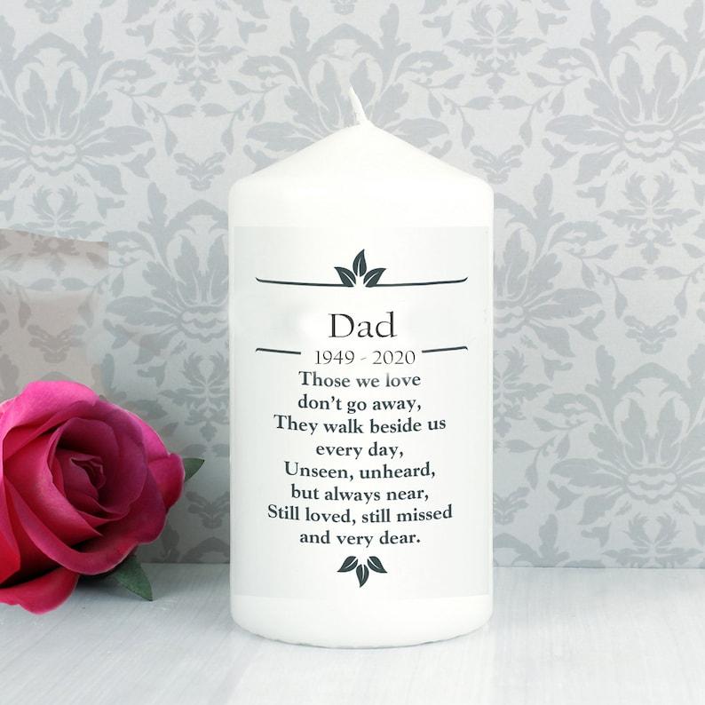 Dad Personalised Memorial  Candle funeral  Poem Verse image 0