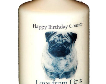 Pug Dog personalised gift candle card ANY Occasion original by Cellini for the dog lover