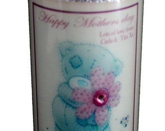 """Happy Mothers Day Candle Card  personalised gift Large 6"""" pink Teddy design perfect for a special Mum. A card and a gift in one!"""