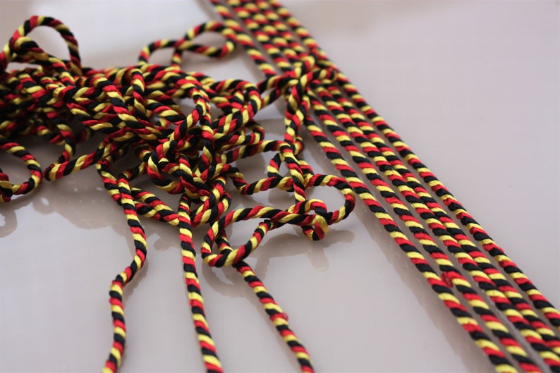 medieval uniform cord artificial silk colorful Cord black-red-gold costume