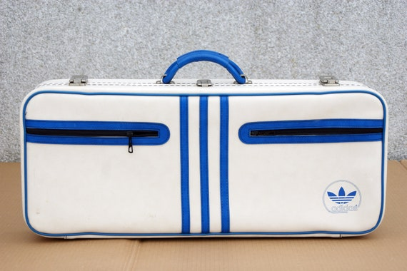 Adidas suitcase vintage, blue white, 80s, ADIDAS,