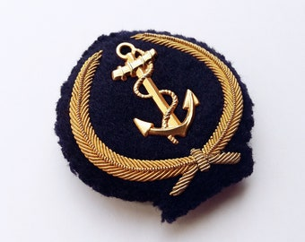 Beanie wreath military, anchor gold embroidery, navy, boullion hand embroidered, badge