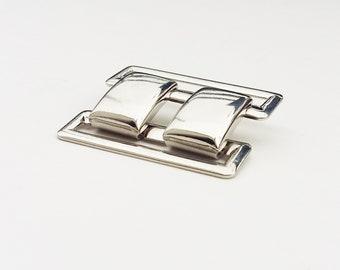 silver belt buckle, pocket buckle, two-piece buckle