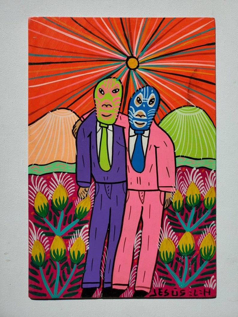 Folk Friends Paintings by Jesus Lorenzo  Mexican Folk Art  Luchador  Zapatista  Diablo  Devil  Rabbit  Arte Popular  Indigenous Art