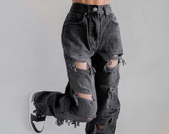 Y2K Holes Ripped Designed High Waisted, Sexy, Disstressed Black Denim Pants / Streetwear / Korean / Lolita / Retro  / Vintage / Hip Hop