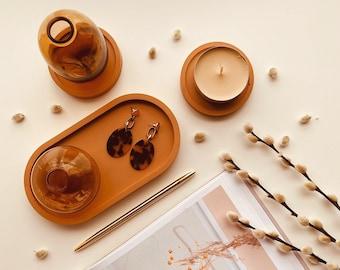 Terracotta Oval Tray Set, Trinket Tray, Jewellery Tray, Ring Dish, Jesmonite Coster, Candle Dish, Jesmonite Tray, Jesmonite Coasters