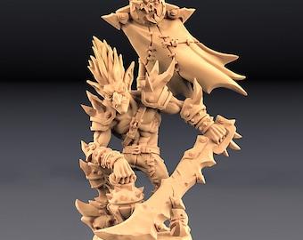 Goblin Warboss - Dzwingo - Sprarksoot Goblins  - 28mm | 32mmMiniatures for Tabletop Gaming (DnD, D&D) by Artisan Guild