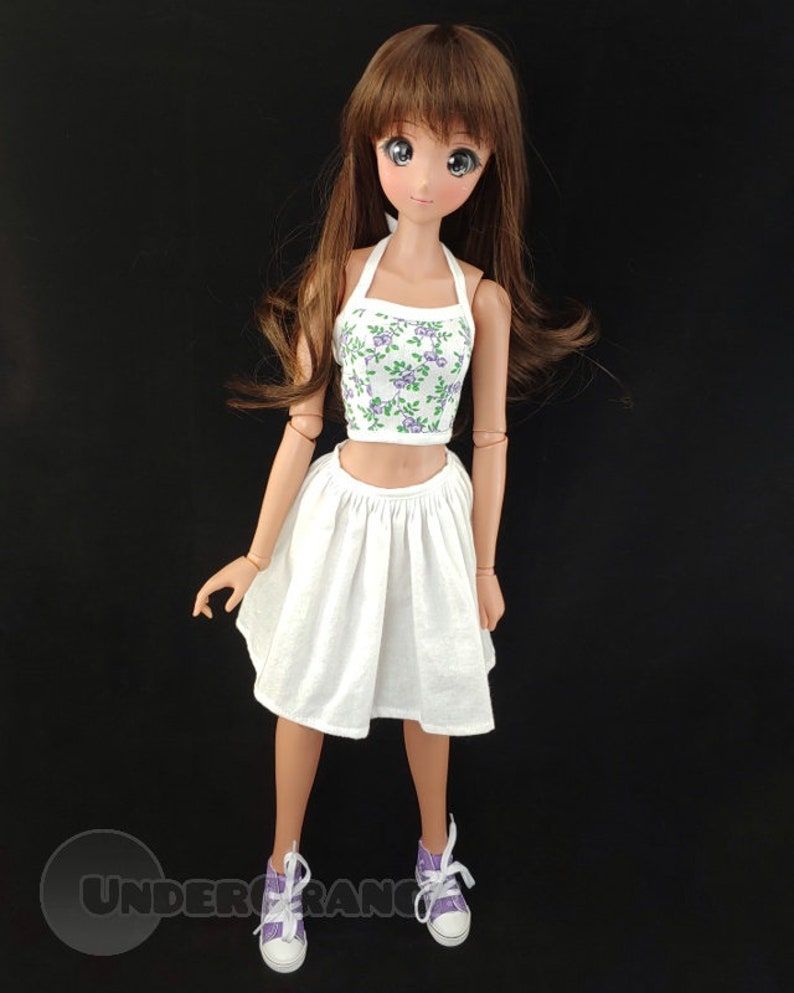 Smartdoll Halter Top 13 BJD Doll Purple Green and White Floral