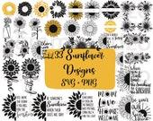 33 sunflower svg png files sunflower monogram svg cricut cutting files sunflower wreath svg sunflower clipart instant download cricut