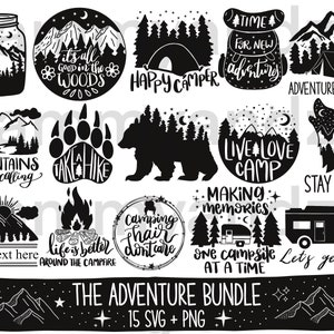 Commercial Use Digital Design Let/'s play outside Camping Outdoor Hiking SVG dxf Files for Cutting Machines like Silhouette Cameo and Cricut