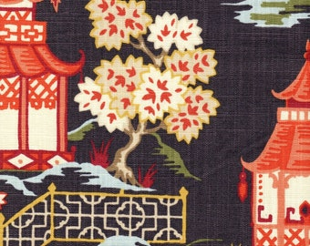 Rod Pocket Curtain Panels Pair in Shoji Lacquer Oriental Toile, Multicolor Chinoiserie