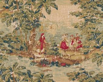 Rod Pocket Curtain Panels Pair in Bosporus Antique Red Renaissance Toile